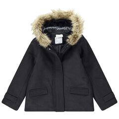 Junior - Manteau en drap de laine doublé sherpa avec fausse fourrure