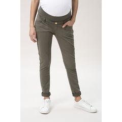 Pantalon de grossesse en twill kaki à bandeau