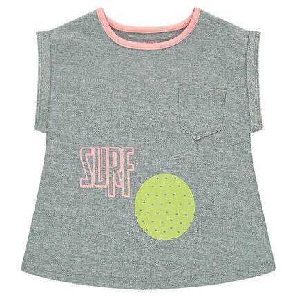 Tee-shirt manches courtes respirant avec poche et prints esprit sport