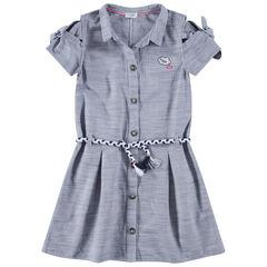 Junior - Robe chemise manches courtes avec ceinture tressée