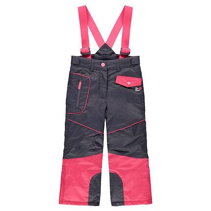 Pantalon de ski bicolore avec bretelles amovibles