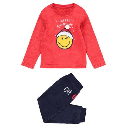 Junior - Pyjama en polaire bicolore print Smiley esprit Noël