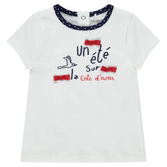 Tee-shirt manches courtes en jersey avec noeuds et inscriptions printées