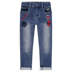 Jeans effet used avec badges brodés ©Marvel Spiderman