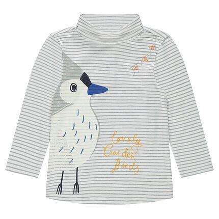 Sous-pull rayé col roulé avec print oiseau