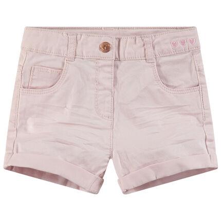 Short en coton effet crinkle à détails en métal rose doré