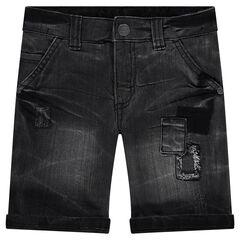 Bermuda court en jeans effet used avec patchs