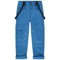Pantalon bleu doublé jersey à poches et bretelles amovibles