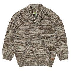 Pull en tricot twisté avec col châle et poche kangourou