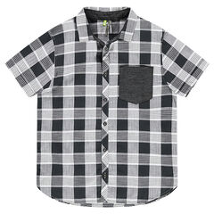 Junior - Chemise manches courtes à carreaux all-over avec poche plaquée