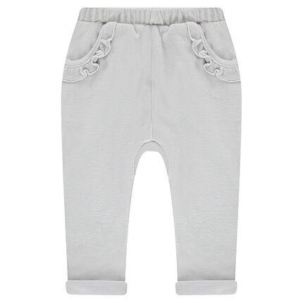 Pantalon de jogging en velours avec poches volantées
