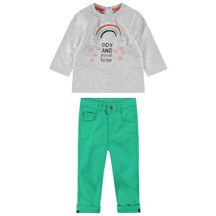 Ensemble tee-shirt manches longues avec arc-en-ciel brodé et pantalon vert