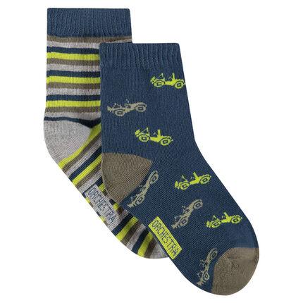 Lot de 2 paires de chaussettes assorties avec motifs / rayures jacquard