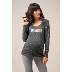 T-shirt de grossesse manches longues en jersey à message printé