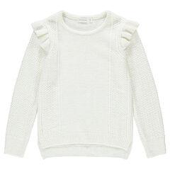 Pull en tricot avec volants sur les emmanchures