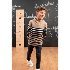 Pull en tricot à capuche à rayures placées