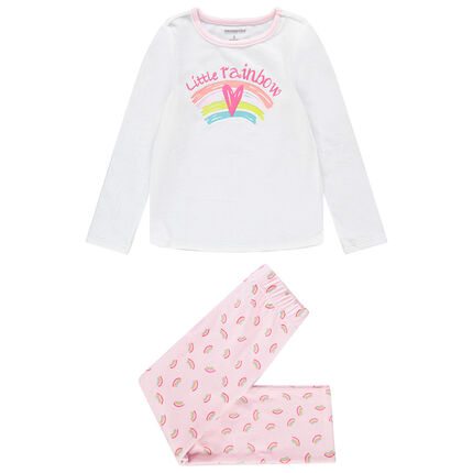 Pyjama en velours print arcs-en-ciel