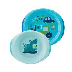 Ensemble assiettes plate et creuse décorées - Bleu