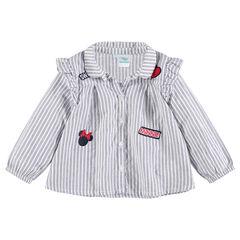 Chemise manches longues en coton avec badges Minnie ©Disney