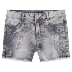 Junior - Short en jeans effet neige avec usures cuivrées