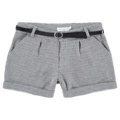 Junior - Short à micro pied de poule avec ceinture pailletée