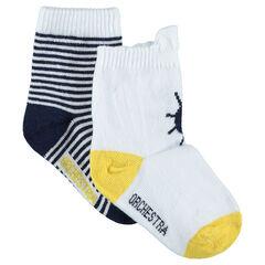 Lot de 2 paires de chaussettes assorties avec motif et rayures esprit marin