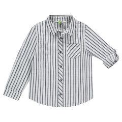 Chemise manches longues rayée avec manches rétractables