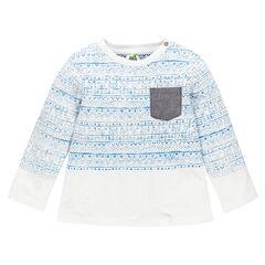 Tee-shirt manches longues à motif scandinave placé et poche
