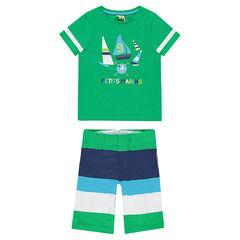 Pyjama court en jersey avec bateaux printés