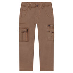 Pantalon en twill surteint avec poches et zips