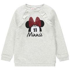 Sweat en molleton chiné print Minnie Disney avec noeud en sequins