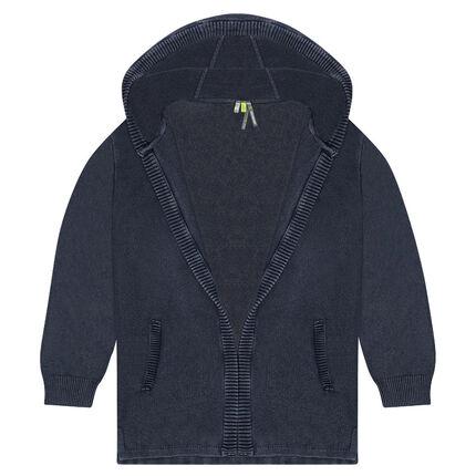 Junior - Gilet à capuche en tricot surteint