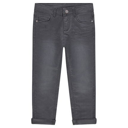 Pantalon en twill uni effet used et crinkle