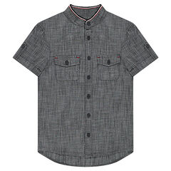 Junior - Chemise manches courtes effet chambray à poches