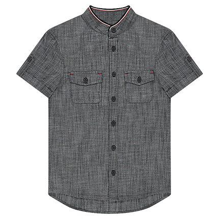 Junior - Chemise manches courtes effet chambray à poches