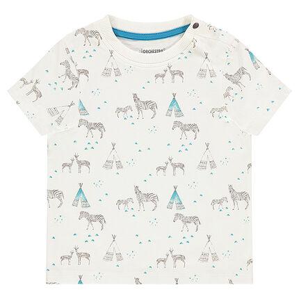 Tee-shirt manches courtes avec prints zèbres et tipis all-over
