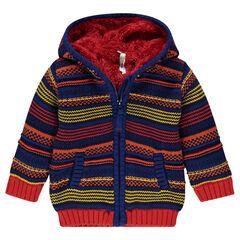 Veste à capuche rayée en tricot doublée sherpa