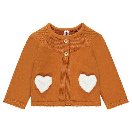 Gilet en tricot camel avec poches en sherpa forme coeur