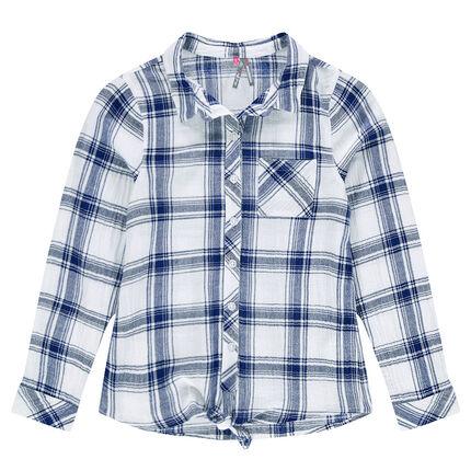 Junior - Chemise à carreaux oversize à nouer devant