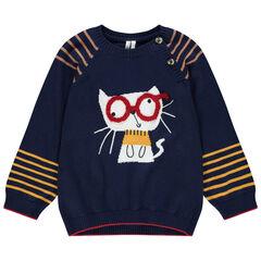 Pull en tricot motif chat en jacquard