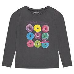 Junior - Tee-shirt manches longues uni avec print fantaisie