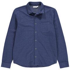 Junior - Chemise manches longues en maille piquée à poche