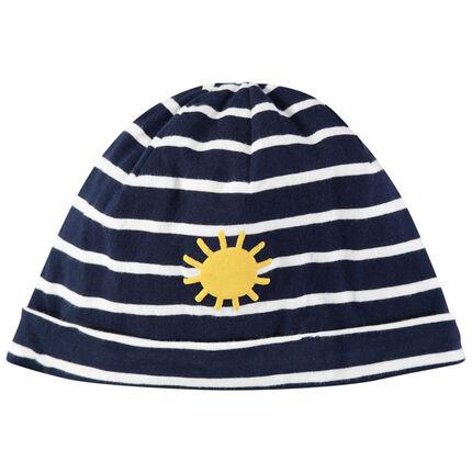 Bonnet en jersey à rayures et soleil printé