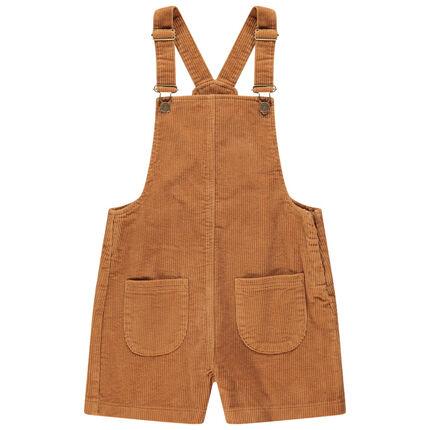 Junior - Salopette en velours côtelé à poches plaquées