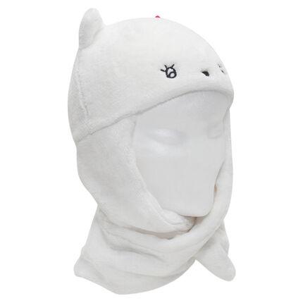 Bonnet écharpe en sherpa avec oreilles en relief et détails brodés