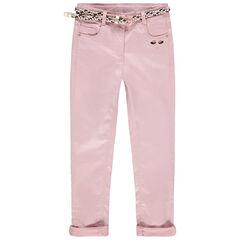 Pantalon slim rose pâle à ceinture tressée amovible