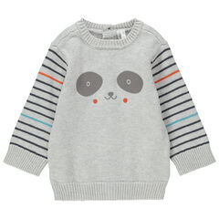 Pull en tricot print panda et rayures
