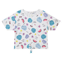 Junior - Tee-shirt manches courtes à imprimé tropical all-over et liens à nouer