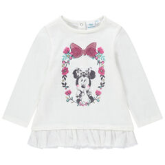 Sweat en molleton fantaisie avec volant en tulle et print Minnie Disney