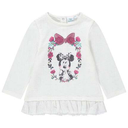 Sweat en molleton fantaisie avec volant en tulle et print Minnie Disney